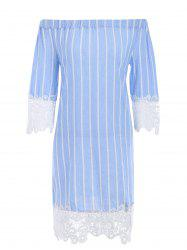 Vertical Stripe Lace Brim Off Shoulder Dress