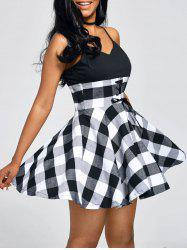 Tartan Print Empire Waist Slip Dress
