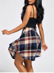 Plaid Print Open Back Slip Top Dress