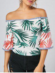 Tropical Print Flare Sleeve Off Shoulder Top