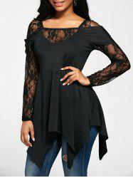 Long Lace Sleeve Handkerchief Tunic Top