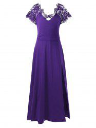Plus Size Lace Trim High Slit Prom Dress - PURPLE