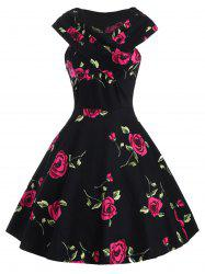 Retro Style V-Neck Rose Print Short Sleeve Ball Dress - RED