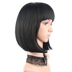 Full Bang Short Straight Bob cheveux humains perruque - JET NOIR #01