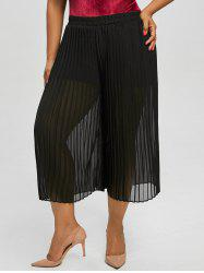 Plus Size Chiffon Pleated Midi Length Skirt