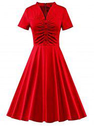 Button Ruched Vintage Pin Up Dress