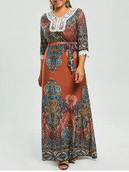 Print Plus Size Gypsy Maxi Dress with Sleeves