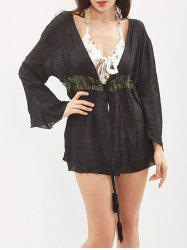 Tassel Hollow Out Kimono Cover Up - BLACK ONE SIZE