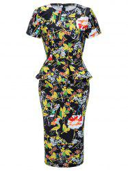 Floral Midi Peplum Dress