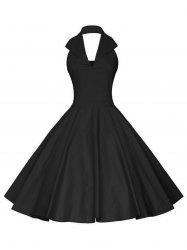 Vintage Backless Halter Pinup Dress - Noir