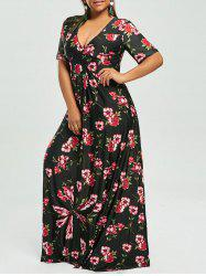 Floral V Neck Plus Size Maxi Bohemian Dress