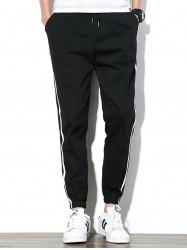 Drawstring Beam Feet Side Stripe Design Jogger Pants - BLACK