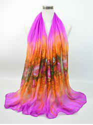 Floral Printing Two Tone Voile Shawl Scarf