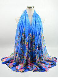 Voile Multicolor Watercolour Printing Gossamer Shawl Scarf -