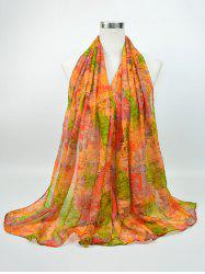 Voile Nostalgic Pattern Gossamer Shawl Scarf - GREEN AND YELLOW