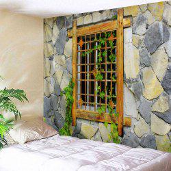 Stone Woody Window Tapestry Wall Hanging