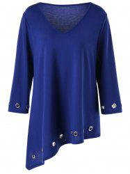 Plus Size Eyelet Embellished Asymmetric Tunic T-shirt