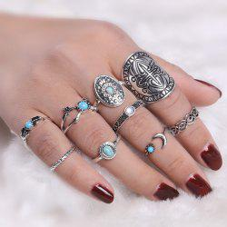 Faux Turquoise Oval Moon Ring Set - SILVER