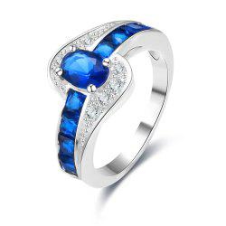 Rhinestone Faux Sapphire Round Ring - BLUE