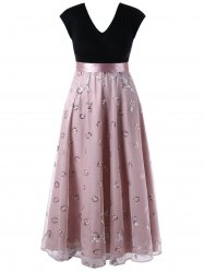 Plus Size Sequined Decorated Tulle Flowing Dress