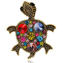 Turtle Shape Faux Gem Inlaid Engraved Brooch - RED