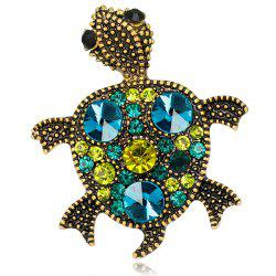 Turtle Shape Faux Gem Inlaid Engraved Brooch - GREEN