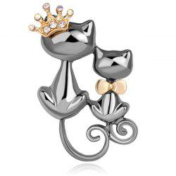 Broche en strass plaqué à motif double chat - Gris