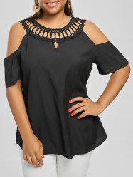 Cold Shoulder Plus Size Lace Panel Blouse