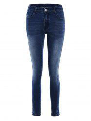 Pockets Slim Fitted Pencil Jeans - DEEP BLUE