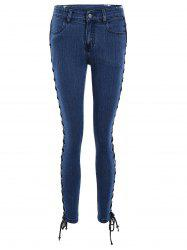 Lace Up Side Slim Fitted Pencil Jeans