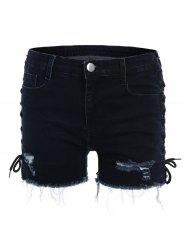 Lace Up Side Ripped Jean Shorts