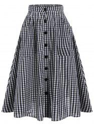Tartan Print Pockets Button Up Midi Skirt - BLACK WHITE