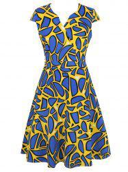 Geometric Print V Neck Fit and Flare Dress
