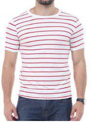 Striped Short Sleeves T-shirt - RED 5XL