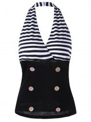 Striped Halter Doubel Breasted Tank Top