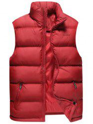 Zip Pocket Embroidered Quilted Vest - RED 6XL