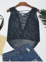 Lace-up Crochet Tank Top -