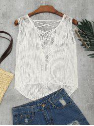 Lace-up Crochet Tank Top