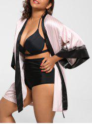 Vertical Stripe Plus Size Night-Robe