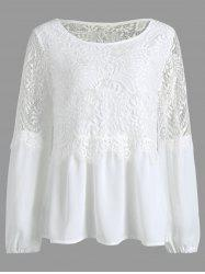 Long Sleeve Chiffon Lace Trim Top