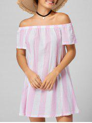 Stripe Off The Shoulder Trapeze Dress