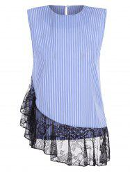 Sleeveless Lace Panel Striped Shirt