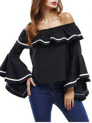Ruffle Bell Sleeve Off The Shoulder Blouse