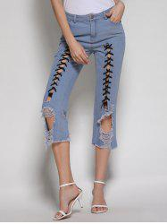 Fitted Lace Up Ripped Cropped Jeans