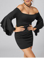 Bell Sleeve Off The Shoulder Bodycon Mini Dress - BLACK XL