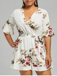 Belted Plus Size Floral Chiffon Dressy Romper - LIGHT BEIGE