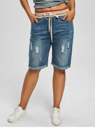 Plus Size Denim Ripped Shorts - DENIM BLUE