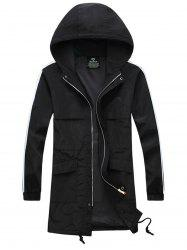 Drawstring Hooded Side Stripe Zip Up Polyester Coat -