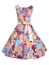 Vintage Backless Floral Print A Line Dress