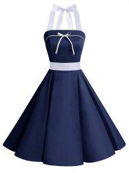 Lace Up Bowknot Halter Pin Up Dress - Bleu Foncé XL